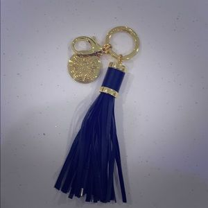 Phone charging gold and leather tassel keychain